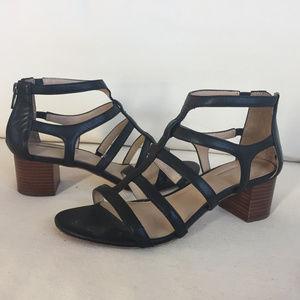 Antonio Melani Black leather Cage sandal Block 7.5